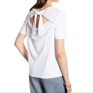 Halogen New white short sleeve top back tie